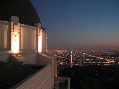 partial view of and from griffith observatory at night, by c.v. johnson