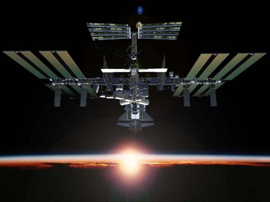 ISS image at sunset