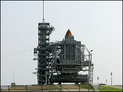 endeavour at cape canaveral getting ready (AP photo)