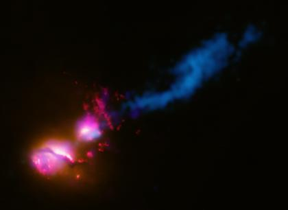 black hole jet striking another galaxy