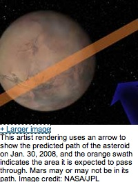 mars and asteroid trajectory