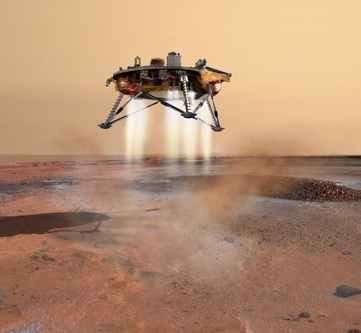 Phoenix Lander making a soft landing on Mars - depiction by JPL artist Corby Waste