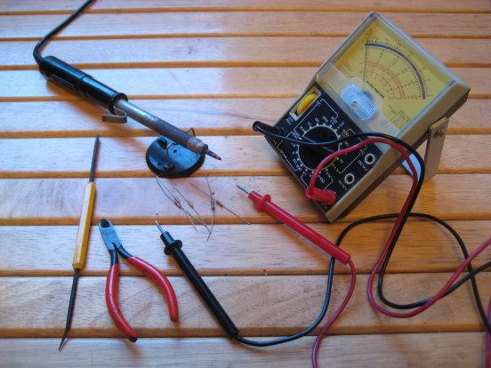 soldering iron, meter, …