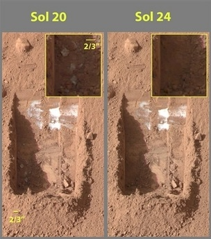 Phoenix trench showing suspected uncovered ice