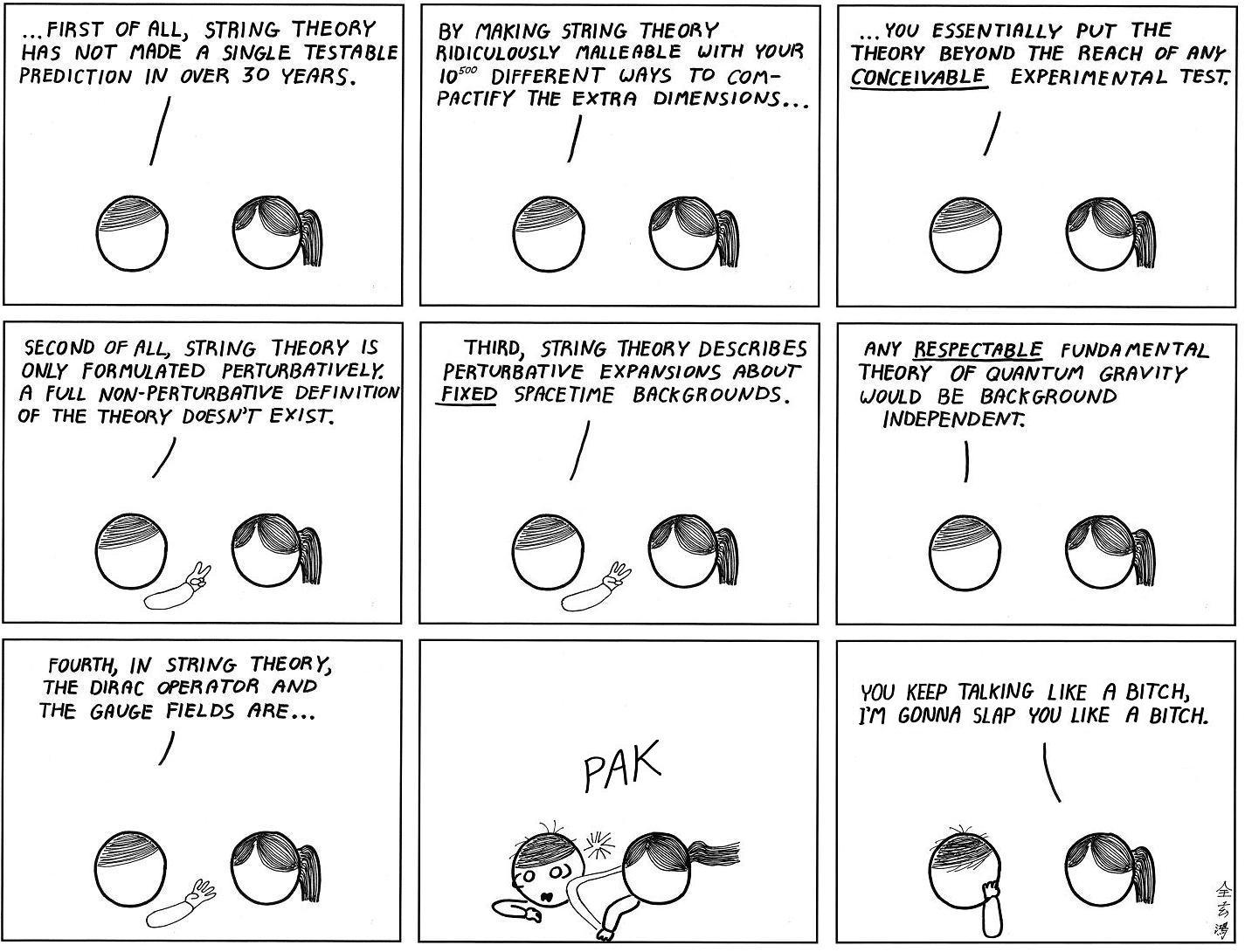 arguing with a string theorist by abstruse goose