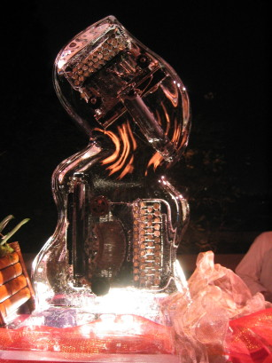 ice sculpture with typewriters