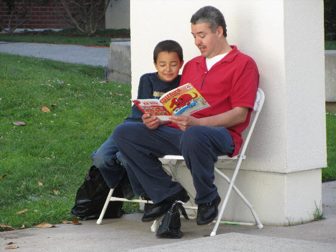 father and son at LA Times Festival of Books