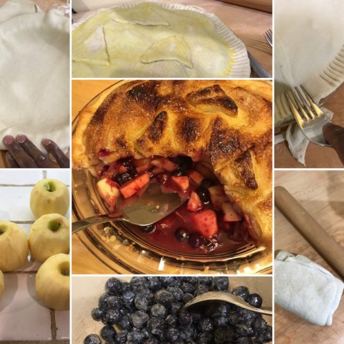 multi-panel picture of apple blueberry pie being made, and finished product.